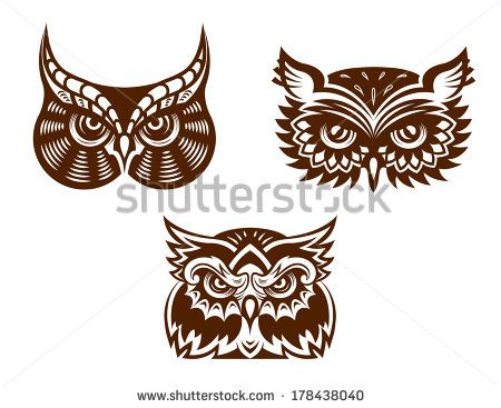 Brown And White Wise Old Owl Faces Logo With Decorative Feather ...