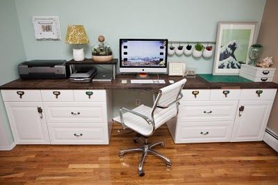 Office Countertop Options : Akurum base cabinets and Langan wood countertop from IKEA created this ...
