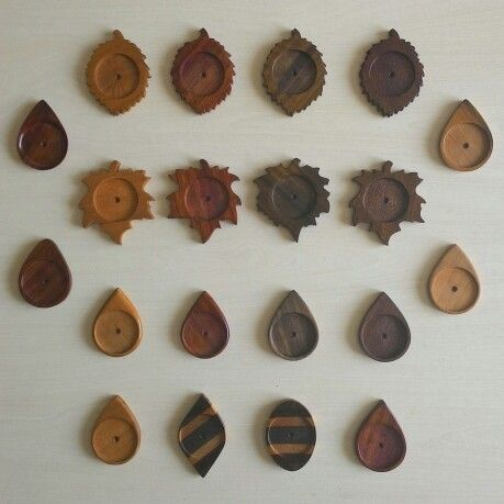 Wooden Cabachons 38 mm / Pendants - Handmade