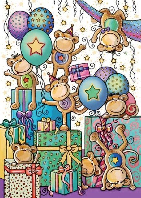 Открытка с обезьянкой с днем рождения, для дорогого человека