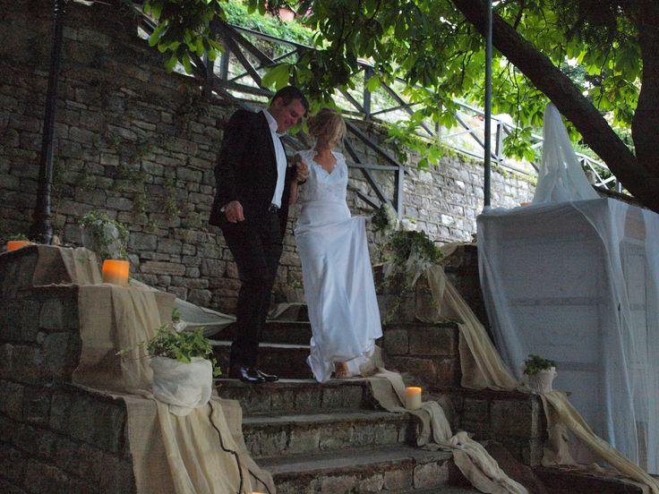 Bride & groom walking to the church