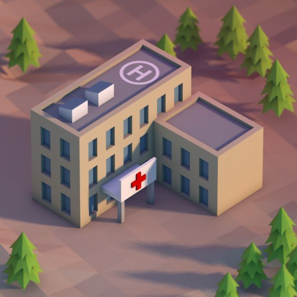 3d hospital building model - notice the trees