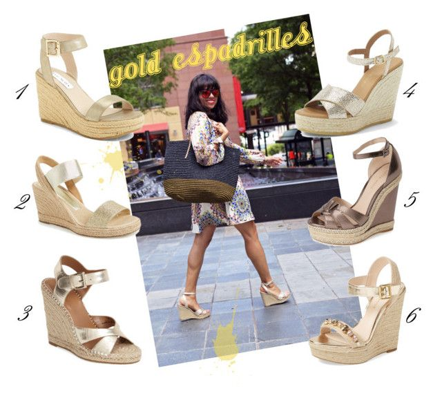 """""""Gold Espadrilles"""" by mysmallwardrobe ❤ liked on Polyvore featuring Pelle Moda, Steve Madden, André Assous, Kurt Geiger, Joie, gold and espadrille"""
