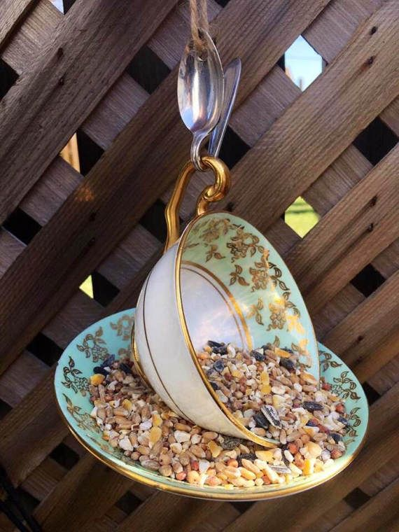 Victoria Teal and Gold Bone China Teacup Bird Feeder with