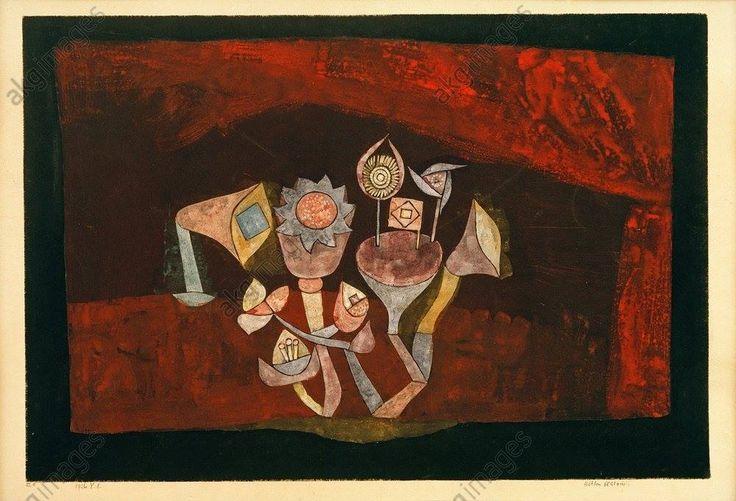 Paul Klee, Höhlen Blüten (fleurs des cavernes), aquarelle et détrempe sur papier, liseré à la gouache et à la plume, 1926