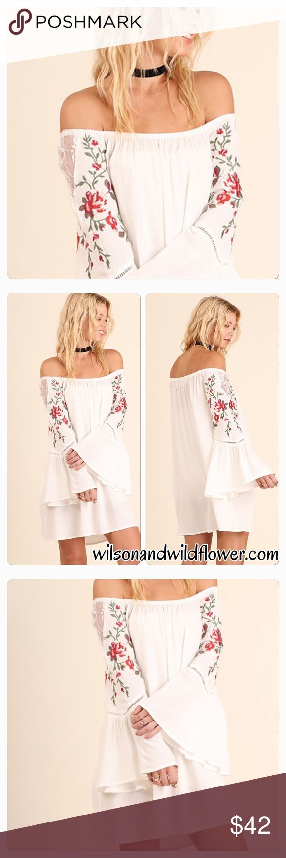 Beautiful White Off Shoulder Dress Beautiful White Off Shoulder Dress. Also available at www.wilsonandwildflower.com with free shipping. Dresses