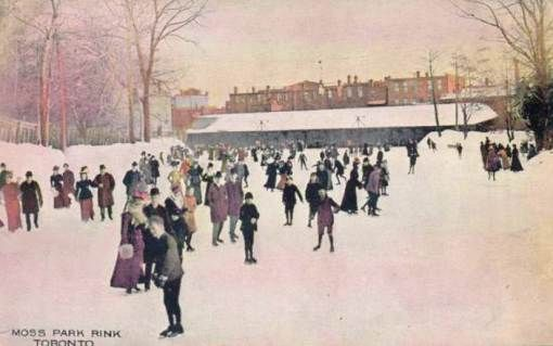 POSTCARD - TORONTO - MOSS PARK ICE SKATING RINK - RESEMBLES PAINTING - TINTED…