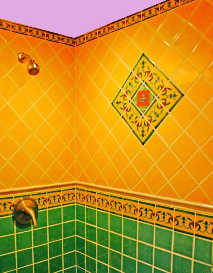 Mexican Decorative Tile In Shower Surround