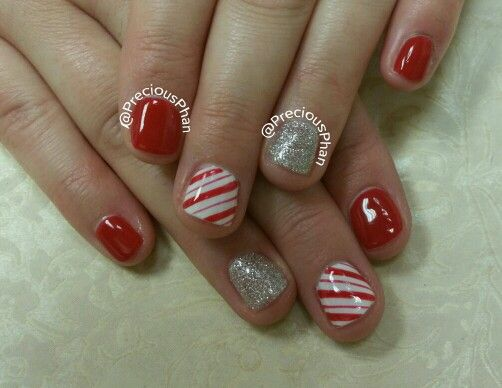 Candy cane nails. Christmas nails. #PreciousPhanNails