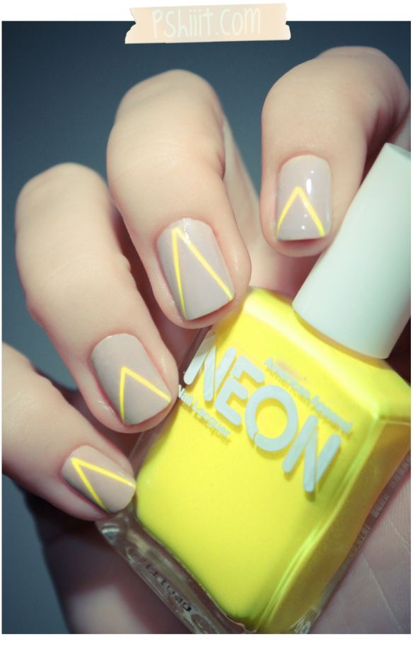 neutral + neon geometric manicure =========================== nail art | nail polish |