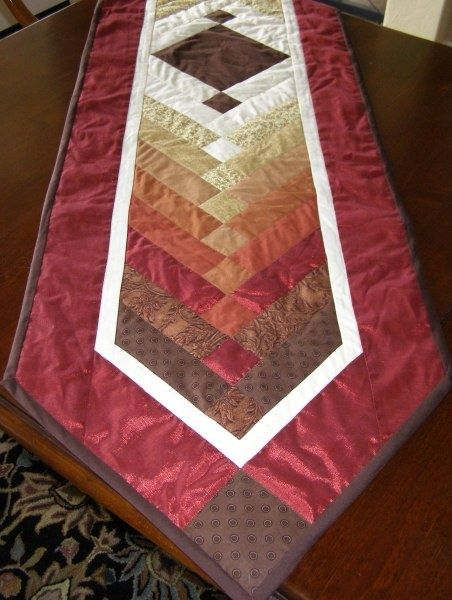 Quilted Table Runner Tutorial. Muted earth tones, crisp lines, would be lovely…                                                                                                                                                                                 More