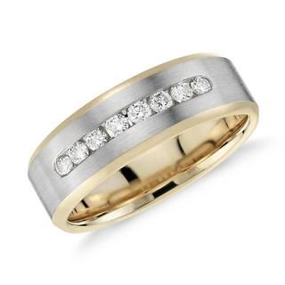 Diamond Channel -Set Wedding Ring In 9K Yellow And White Gold (0.35ct tw)