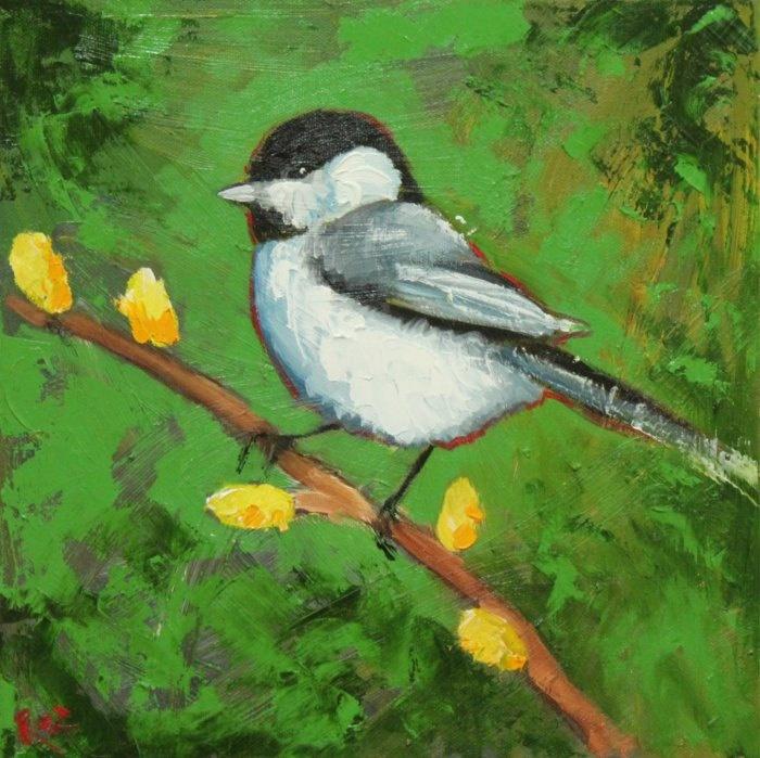 Bird painting 104 bird 12x12 inch original oil painting by Roz. $85.00, via Etsy.