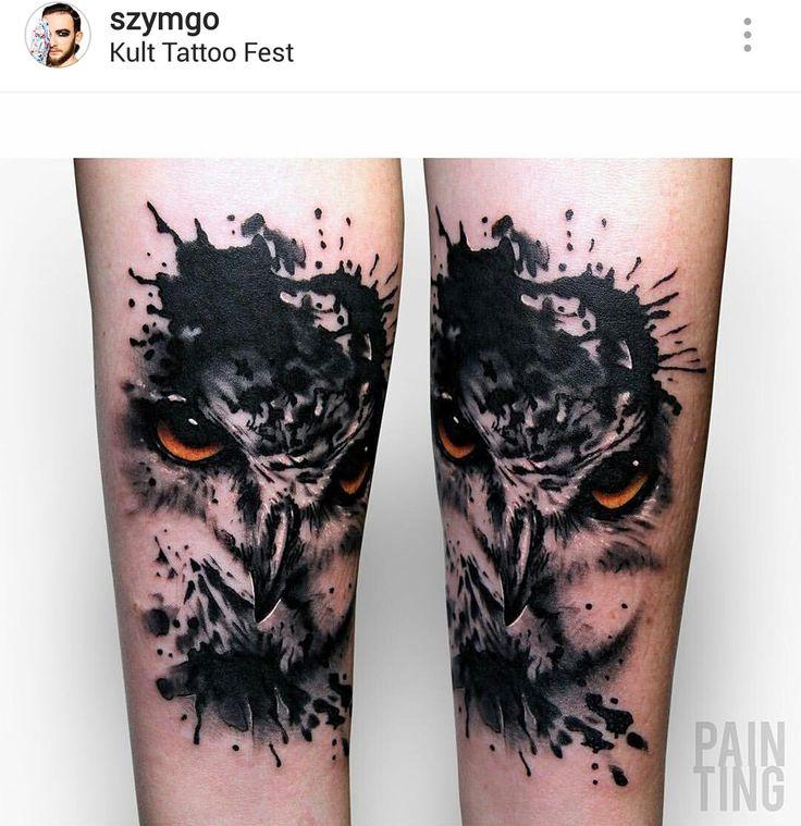 Watercolor owl tattoo by @szymgo