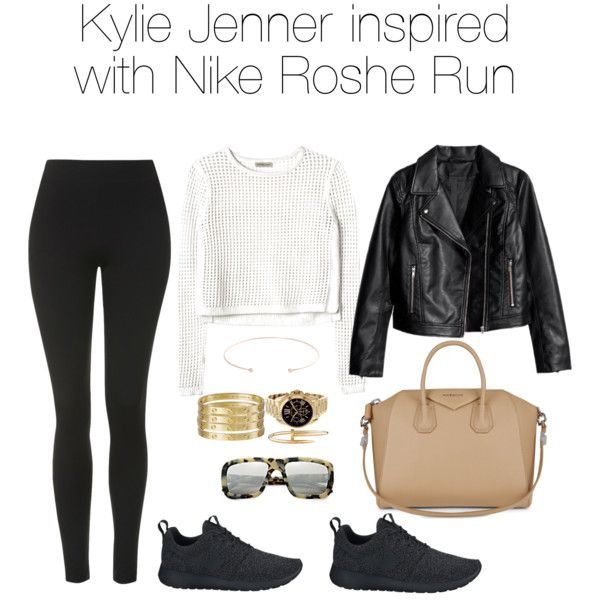 Requested! Kylie Jenner inspired with black Nike roshe run, Edgy style by thejennerstyleguide on Polyvore featuring Rebecca Taylor, Topshop, NIKE, Givenchy, Michael Kors, Cartier and STELLA McCARTNEY