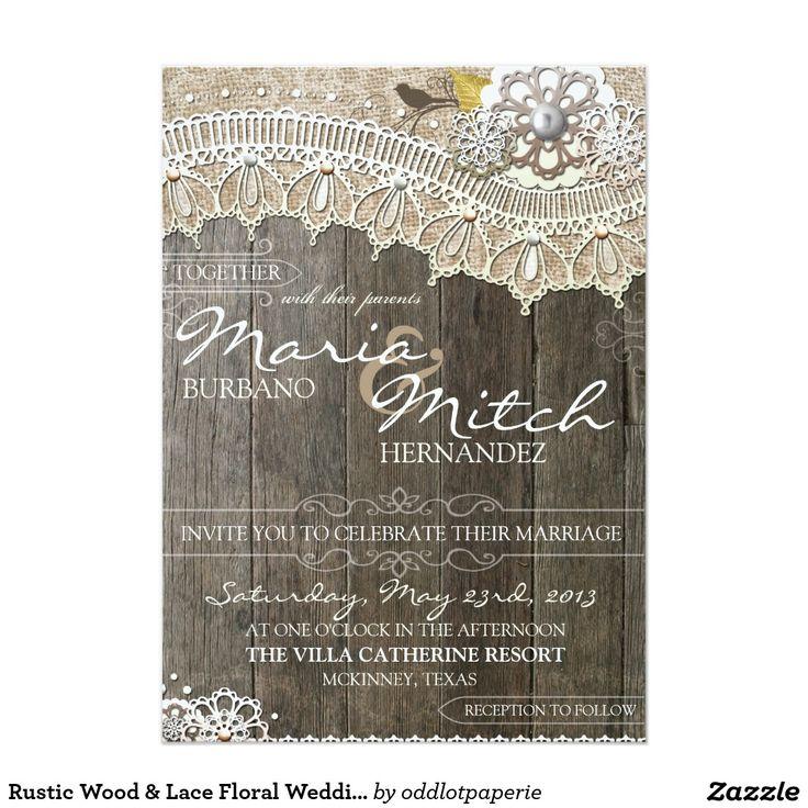 wedding invitations printed on wood%0A Rustic Wood  u     Lace Floral Wedding Invitation