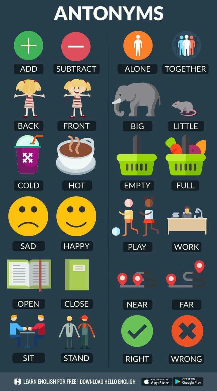 English vocabulary, antonyms