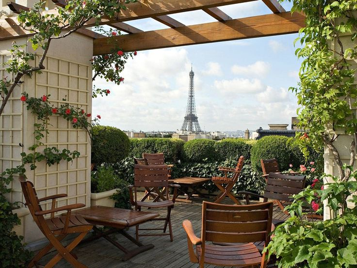 Paris has its share of luxury hotels with magnificent views, but there's something special about the experience from the rooftop terrace at Hôtel Raphael. Take a seat beneath rose-covered trellises and enjoy a drink or two with the Eiffel Tower looming on the horizon. This terrace is best during warm spring days and the summer (naturally), and it's always a good idea to make a reservation for the terrace. —Carin Olsson