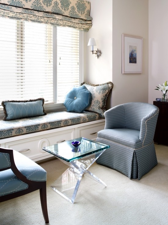 similar to my guest room setup: Window Benches, Romans Shades, Bedrooms Design, Traditional Bedrooms, Living Room, Master Bedrooms, Window Treatments, Window Seats, Bays Window