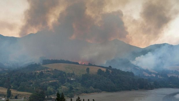 The fire near Governors Bay on Wednesday morning.