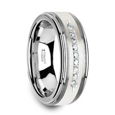 HARPER Tungsten Wedding Band with Raised Center & Brushed Silver Inlay and 9 White Diamonds - 8mm #tungstenring #diamondring #mensring