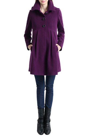 Free shipping and returns on Kimi and Kai Faye Hooded Maternity Peacoat at Nordstrom.com. A classic wool-blend peacoat is made even more feminine with a swingy, flared silhouette that flows gently over your growing bump. Inverted pleats in front and back, as well as a trio of bow buttons, enhance the vintage silhouette, while a removable hood adds versatility to the go-to design.