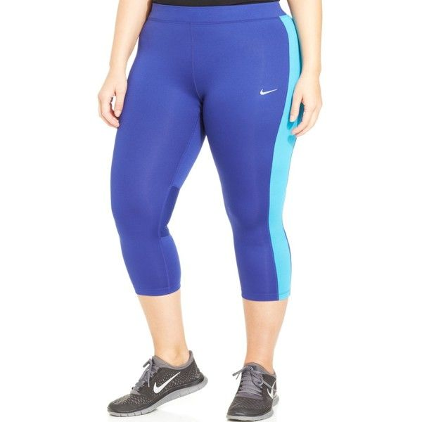 Nike Plus Size Colorblocked Cropped Leggings ($55) ❤ liked on Polyvore featuring plus size fashion, plus size clothing, plus size pants, plus size leggings, royal blue, cropped leggings, plus size womens leggings, royal blue capri leggings and royal blue pants