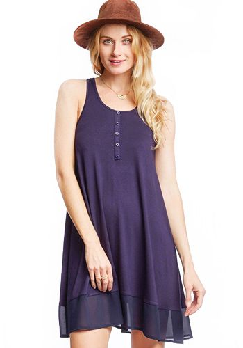Relaxed fitting tank dress/tunic in navy with faux buttons. Racer back. Chiffon trim at hem. 70% cotton, 30% rayon Stretchy Not lined Hand wash cold; hang dry Women's Vintage-Style Dresses & Accessories - Canada Staycation Dress/Tunic in Navy -