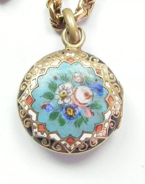 Antique Floral Enamel Pendant