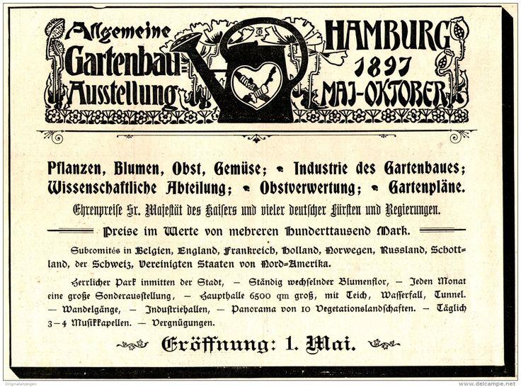 Original-Werbung/ Anzeige 1897 - GARTENBAU AUSSTELLUNG HAMBURG - ca. 190 x 140 mm