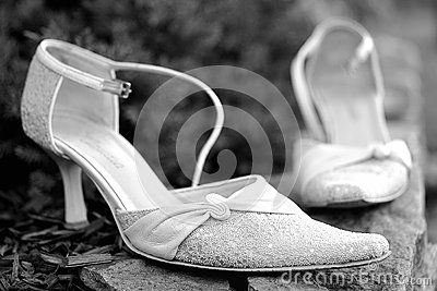 Detail on white wedding shoes