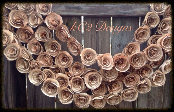 Paper Flower Garland. Book page flowers. 2016 wedding trends. Vintage wedding. Rustic wedding. Tea stained flowers. YOUR COLORS. pink roses.