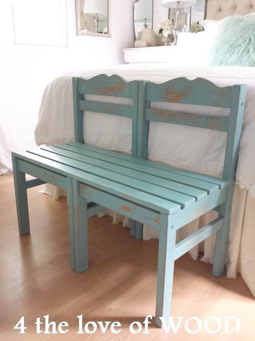 BENCH MADE FROM CHAIRS painted in turquoise annie sloan