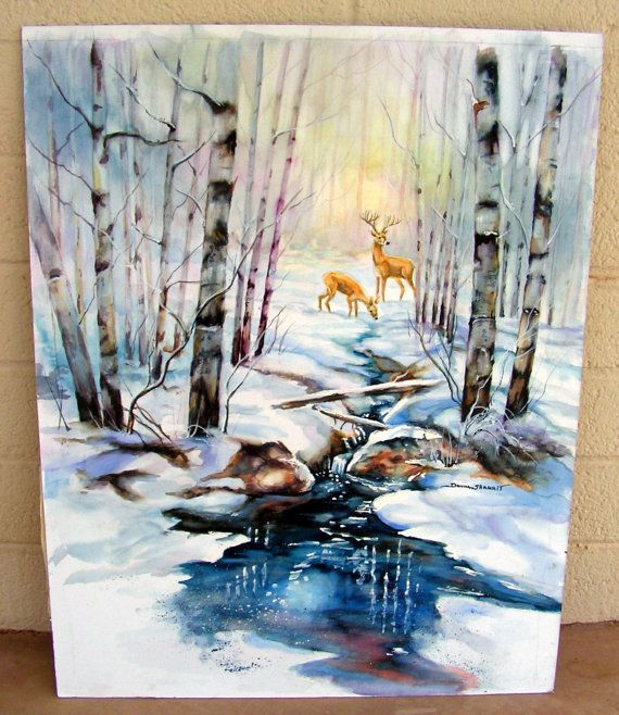 vintage watercolor winter painting    signed donna sharrit