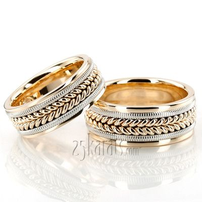Attractive Beaded Hand Woven Wedding Band Set