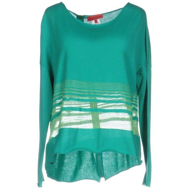 Manila Grace Denim Jumper ($210) ❤ liked on Polyvore featuring tops, sweaters, green, long sleeve cotton tops, green sweater, long sleeve tops, green long sleeve top and jumper top