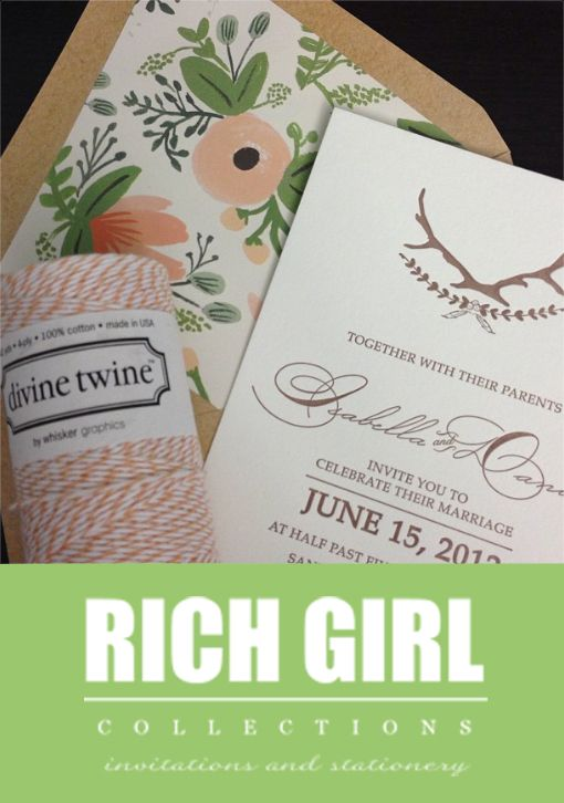 Rustic Whimsical Calligraphy Letterpress Wedding Invitation wrapped in Twine with Kraft envelopes and Rifle Paper pattern envelope liner. Rich Girl Collections