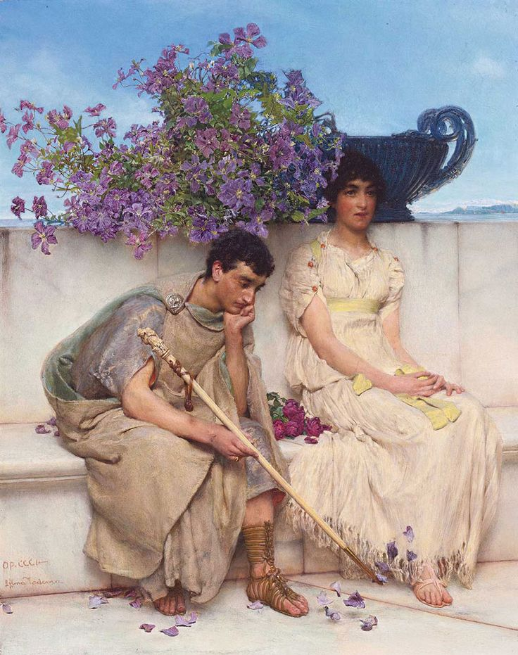 Sir Lawrence Alma-Tadema. An Eloquent Silence, 1890. Buy this painting as premium quality canvas art print from Modarty Art Gallery. #art, #canvas, #design, #painting, #print, #poster, #decoration