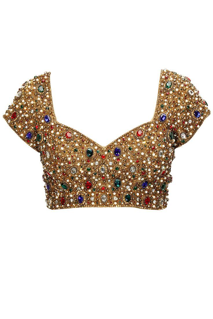 Seema Khan Multi coloured gems jewelled blouse #Saree #Blouse #Sareeblouse