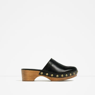 Image 1 of LEATHER STUDDED CLOGS from Zara