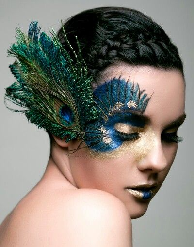 Peacock Inspired Makeup.  I'm proud of you friend!!