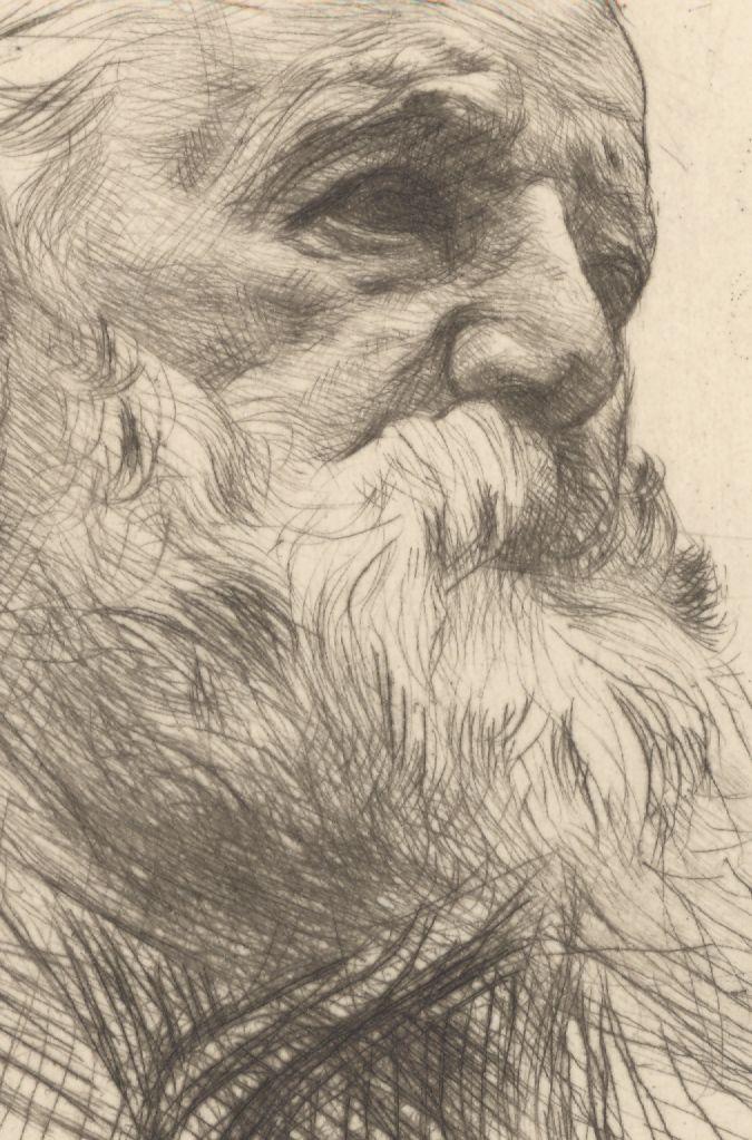 Rodin, pointe sèche, portrait de Victor Hugo, (détail)