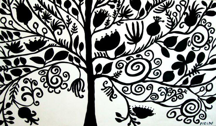tree: Karen Fields, Karen O'Neil, Trees Art, Silhouette Paintings, Tree Silhouette, Trees Silhouette, Black And White, Art Prints, White Trees