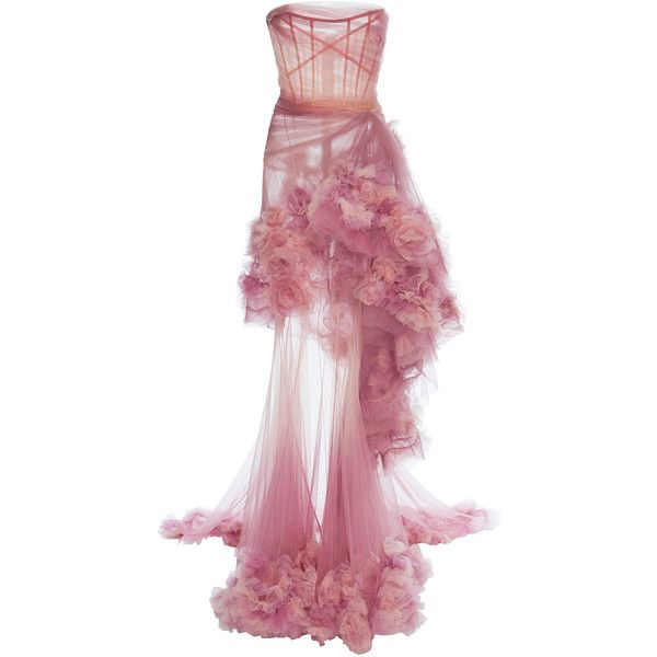 Marchesa Ombre Tiered Gown (133.033.415 IDR) ❤ liked on Polyvore featuring dresses, gowns, pink, strapless dresses, strapless ball gown, floral print evening gown, strapless floral dress and floral gown