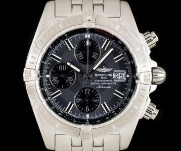 Breitling Chronomat Evolution Chronograph Gents Stainless Steel Black Dial A13356