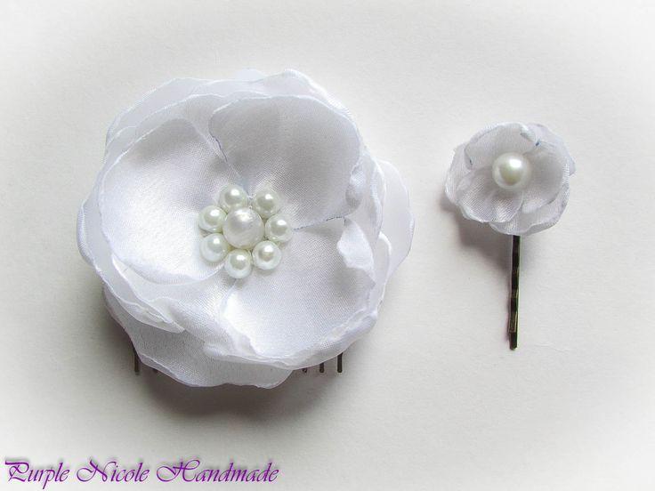 Delicate - Handmade Bridal Hair Set: Hair Comb & hair-clip by Purple Nicole (Nicole Cea Mov). Materials: satin, pearls.