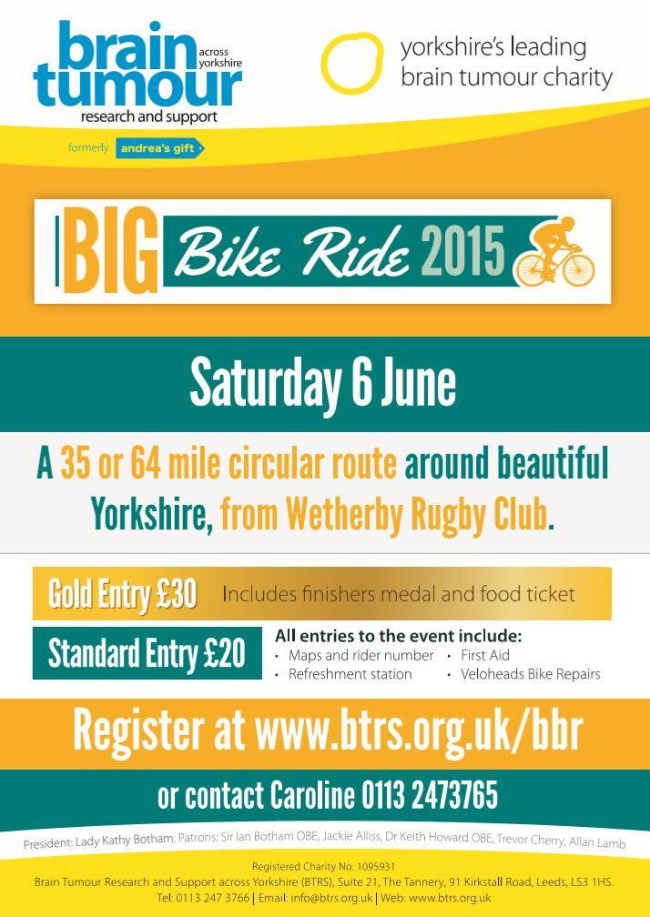WETHERBY: Brain Tumour Research & Support across Yorkshire presents Big Bike Ride 2015 on Saturday 6th June
