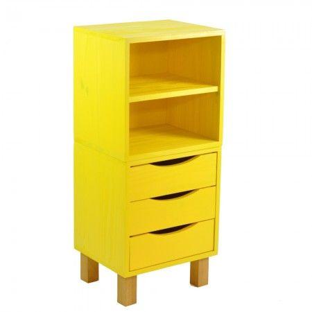 Nossos nichos modulares são super legais para montar um móvel exclusivo e diferente! Olha essa combinação do Nicho Prateleira Amarelo + Nicho Gaveteiro Amarelo + Pé Quadrado Mel :) Venha dar uma espiadinha na nossa Loja Tadah Design! <3