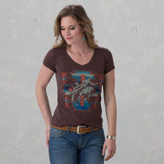 Rock & Roll Cowgirl Buck-a-Roo Aztec Tee