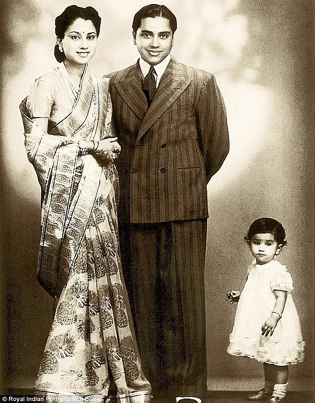 Gwalior's last maharaja, Jivajirao Scindia, nattily dressed in a Western suit, poses with his wife Vijayaraje (the future Jan Sangh-BJP leader), who's attired in a French chiffon sari with an Indian brocade border, in this 1945 picture shot at Mumbai's Hamilton Studios. The little girl in the picture is Padma Raje, eldest of the royal couple's five children, who passed away in 1965.